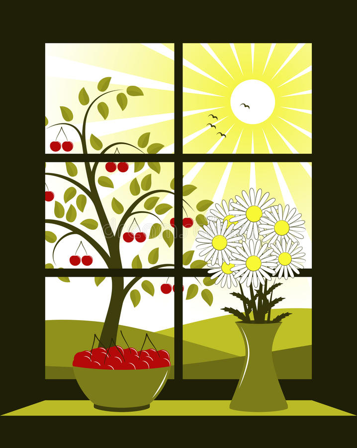 Cherry tree outside window vector illustration