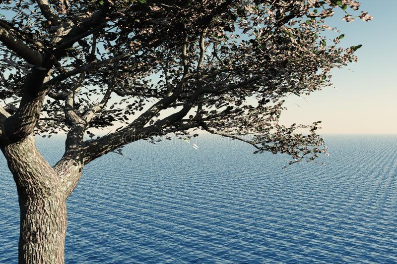 Download Cherry Tree and Sea stock illustration. Image of seascape - 14476245