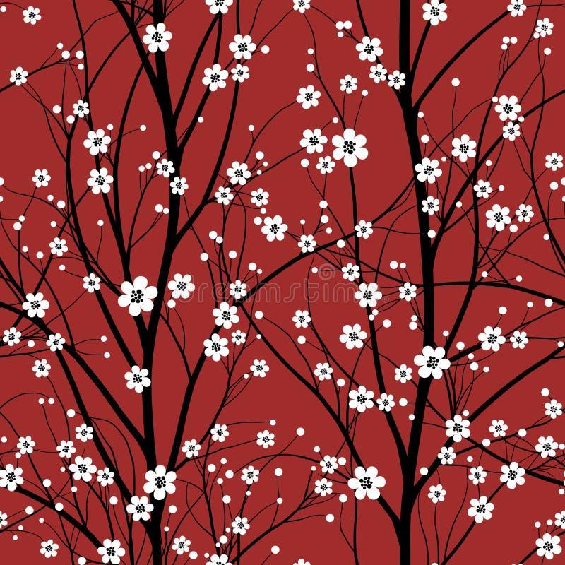 Cherry tree seamless pattern vector illustration