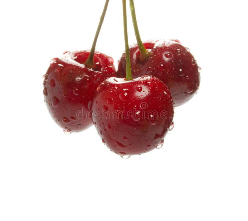 Cherry with water drops stock photo