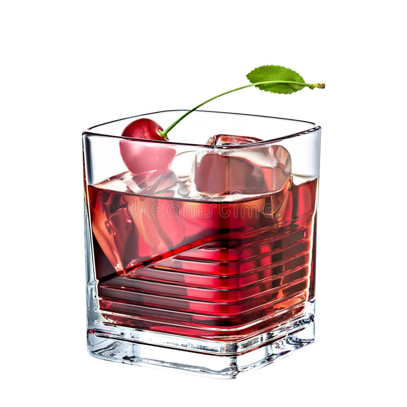 cherry whiskey alcohol cocktail isolated on white background royalty free stock photo