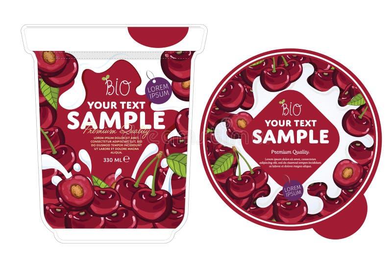 Cherry Yogurt Packaging Design Template royalty-vrije illustratie