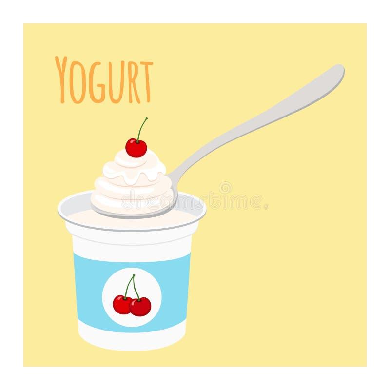 Cherry yogurt in plastic cup. Milk cream product. Flat style. Cherry yogurt in plastic cup. Milk cream product in flat vector style vector illustration