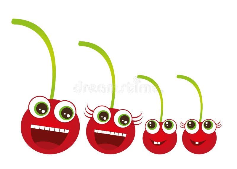 Cherryfamilj stock illustrationer