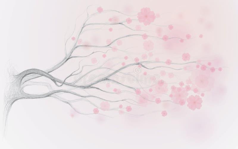 Cherryjapantree stock illustrationer