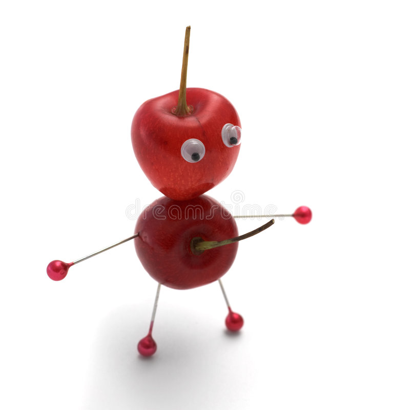 Cherryman. The little man made of a sweet cherry royalty free stock image