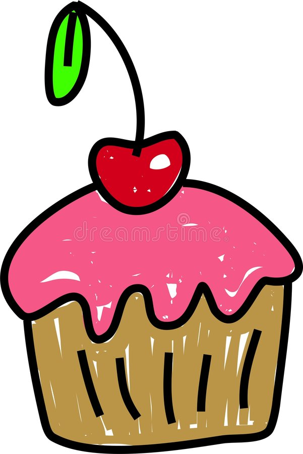 Cherrymuffin vektor illustrationer