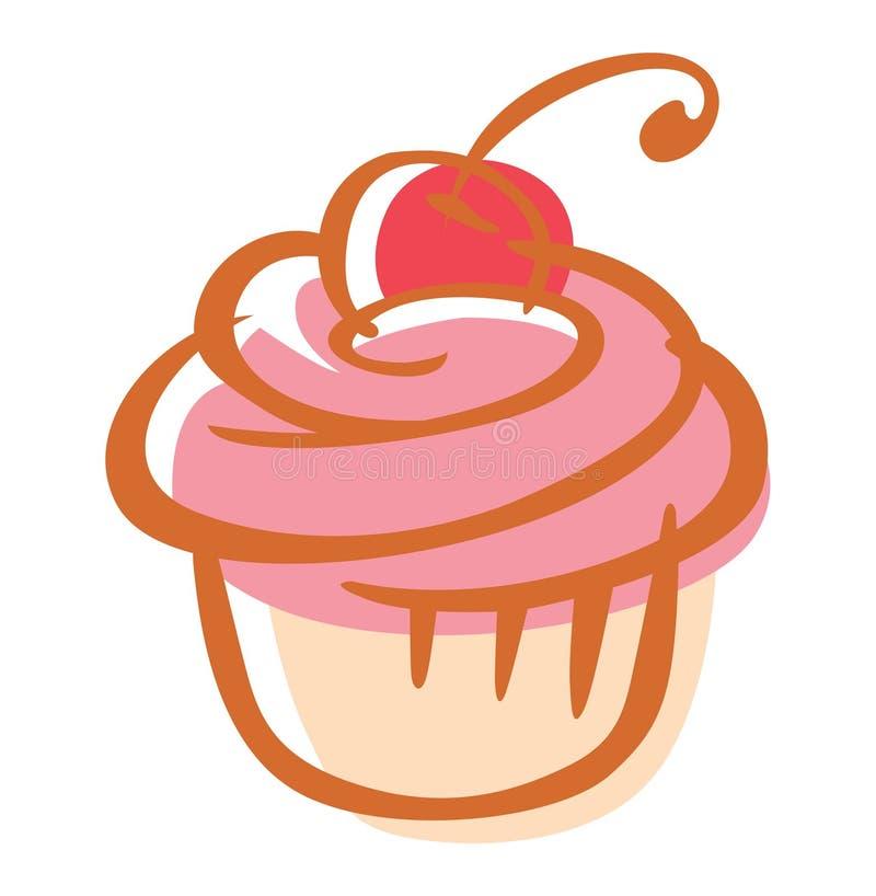 Cherrymuffin royaltyfri illustrationer