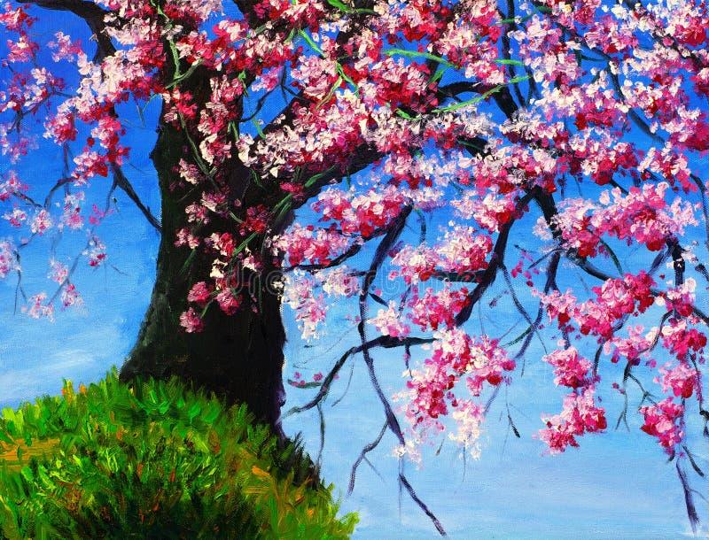Cherryoljemålning royaltyfri illustrationer
