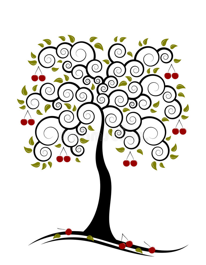 Cherrytree royaltyfri illustrationer