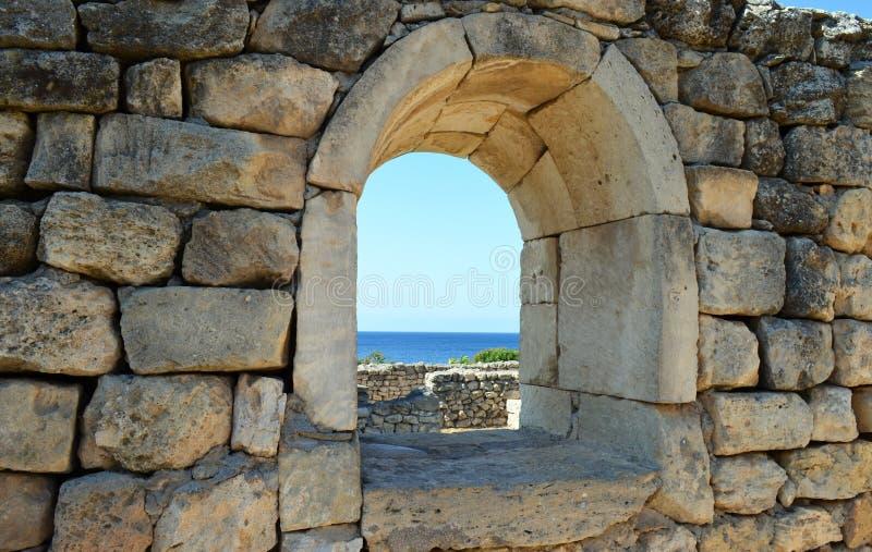 Chersonesos古城的废墟,在塞瓦斯托波尔,克里米亚 库存照片