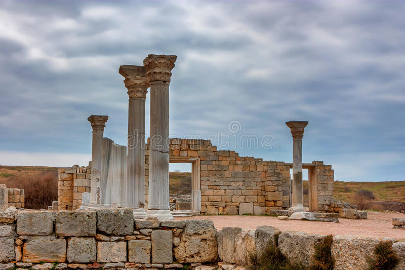 Chersonesus ruins in Crimea. Ruins of ancient Chersonesus Tauric archaeological park in Sevastopol, Crimea royalty free stock photo