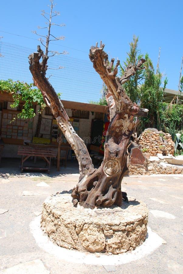 Chersonissos,塞浦路斯,希腊- 31 07 2013年:木头雕塑在植物和花中间庭院的在克利特 免版税库存照片