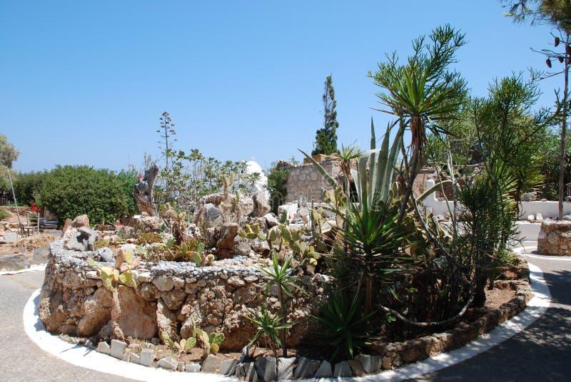 Chersonissos, Cyprus, Griekenland - 31 07 2013: Tuin van groene stekelige cactussen die onder de schroeiende zon en een diepe hem royalty-vrije stock foto