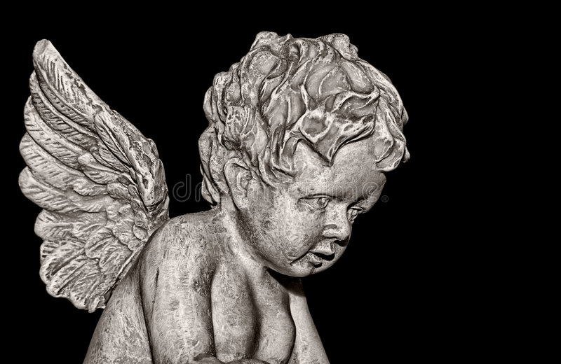 Cherub on black stock photo