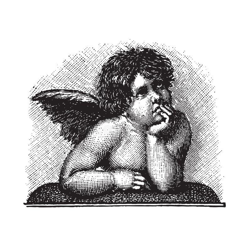 Cherub do amor de Raphael, gravura vectorized ilustração royalty free