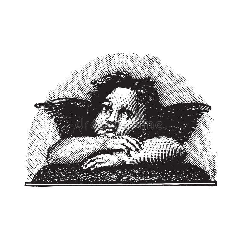 Cherub do amor de Raphael, gravura vectorized ilustração do vetor