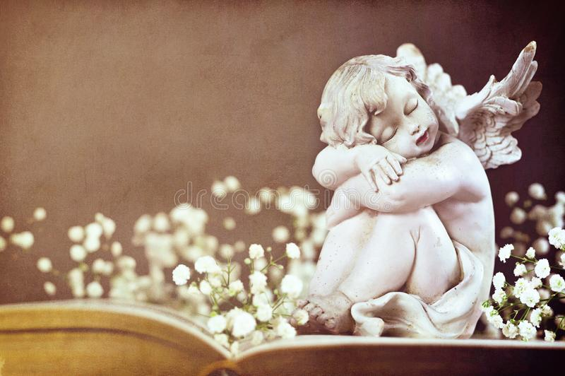 Cherub and white flowers on the book stock photo