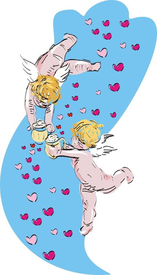 Cherubs, fundo azul ilustração do vetor