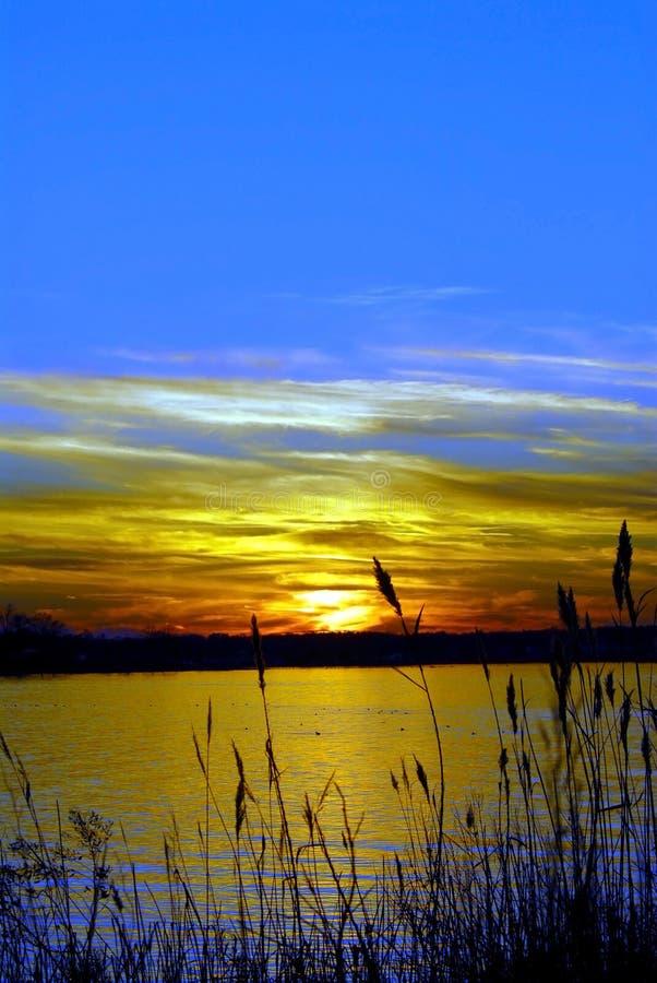 Chesapeake de zonsondergang van Maryland van de Baai stock fotografie