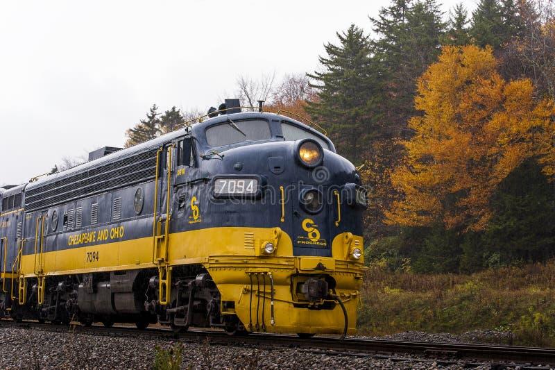 Chesapeake e locomotiva ristabiliti della ferrovia dell'Ohio - Virginia Occidentale fotografia stock