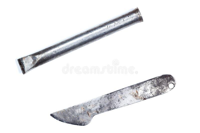 Chesel i Nożowy metal używać fotografia stock