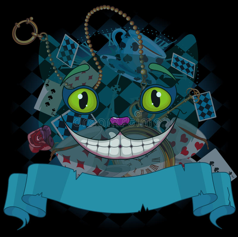 Cheshire Cat. Design of Cheshire cat on wonderland background stock illustration