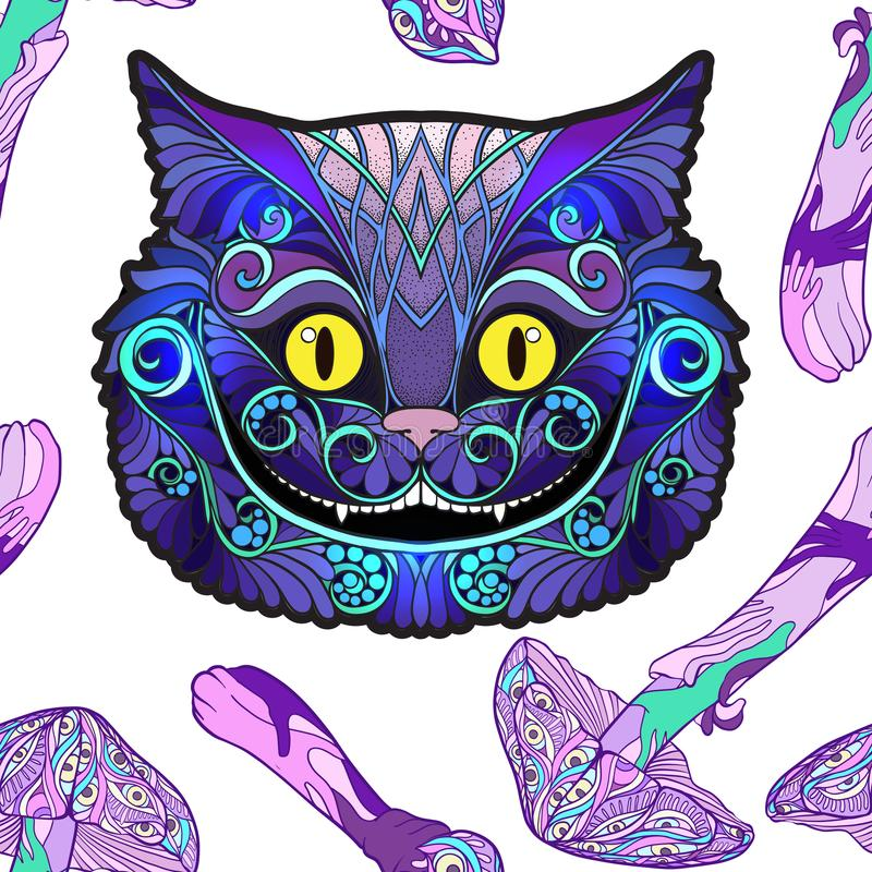 Cheshire cat head from the fairy tale Alice in Wonderland. And mushrooms. Seamless pattern, background. Stock line vector illustration royalty free illustration