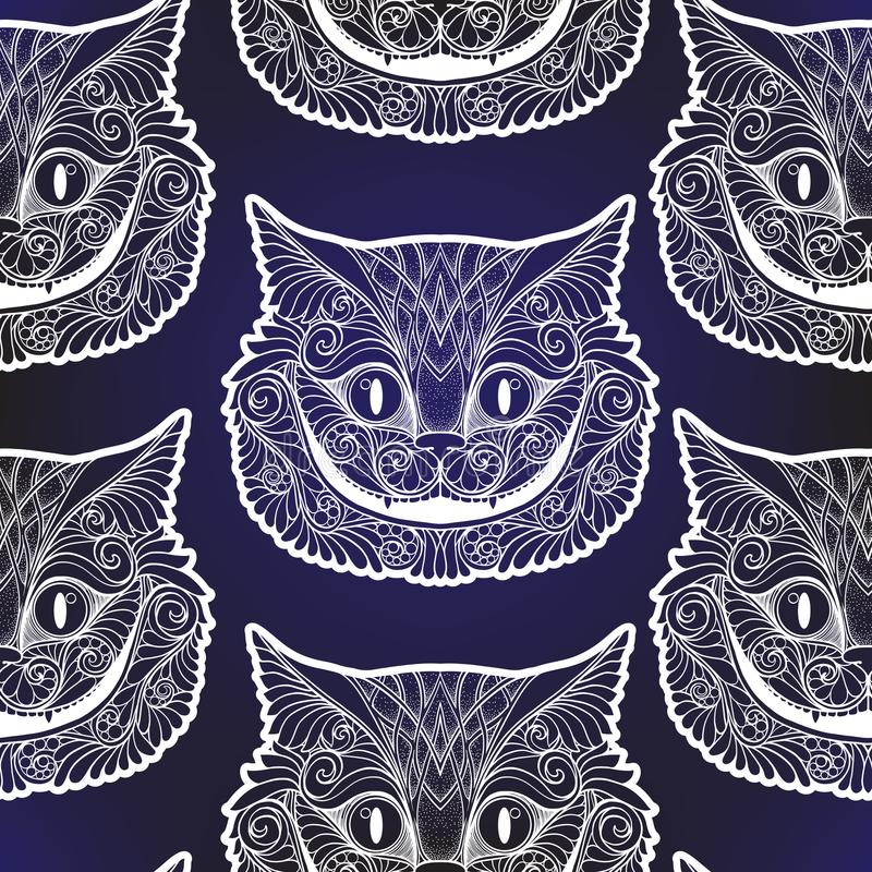 Cheshire cat head from the fairy tale. Seamless pattern, background. Stock line vector illustration royalty free illustration
