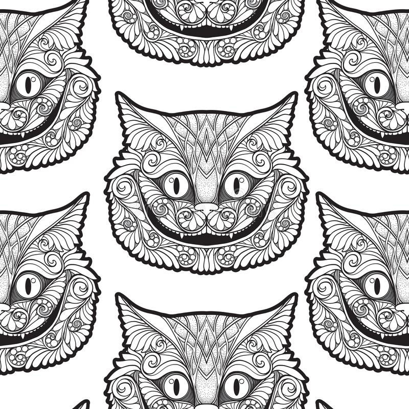Cheshire cat head from the fairy tale. Seamless pattern, background. Stock line vector illustration stock illustration
