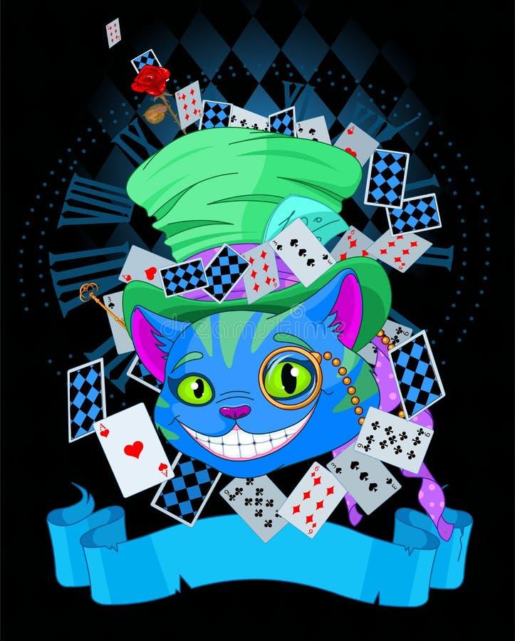 Cheshire Cat i design för bästa hatt vektor illustrationer