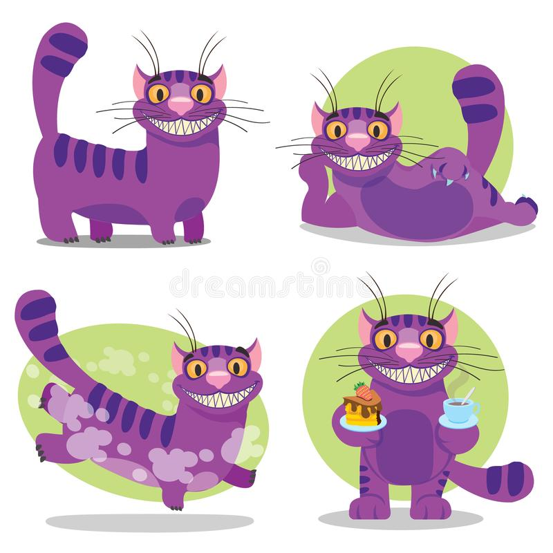 Cheshire Cat. Illustration to the fairy tale Alice`s Adventures in Wonderland. Purple cat with a big smile.  vector illustration