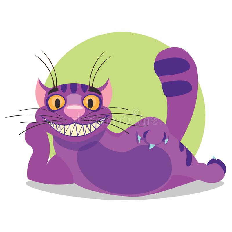 Cheshire Cat. Illustration to the fairy tale Alice`s Adventures in Wonderland. Purple cat with a big smile lays.  royalty free illustration