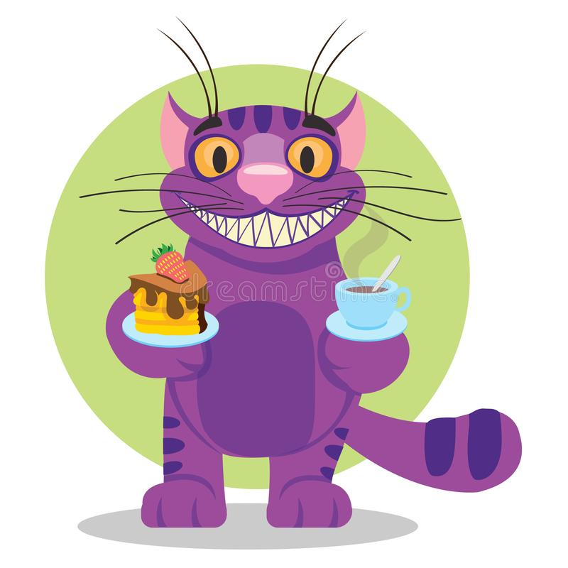 Cheshire Cat. Illustration to the fairy tale Alice`s Adventures in Wonderland. Purple cat with a big smile offers a cup. Of tea and cake royalty free illustration