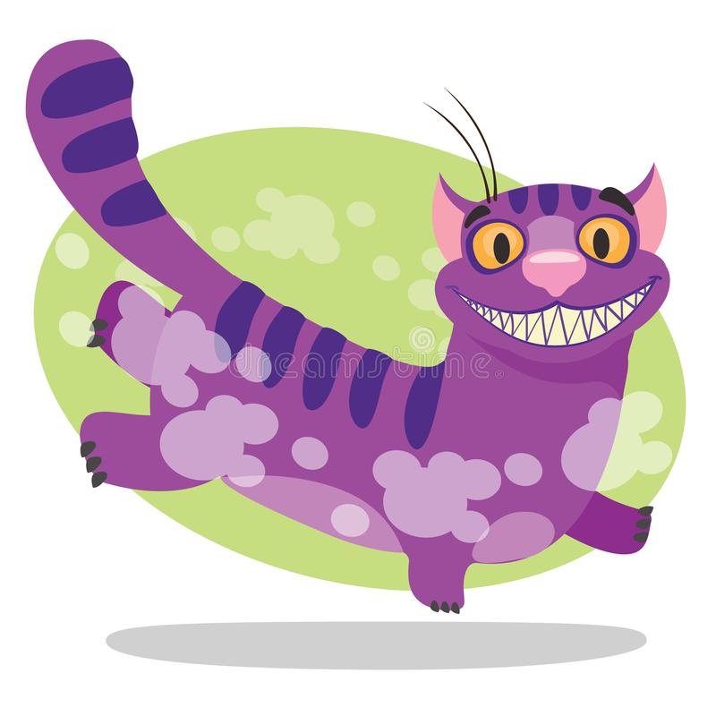 Cheshire Cat. Illustration to the fairy tale Alice`s Adventures in Wonderland. Purple cat with a big smile runs.  stock illustration