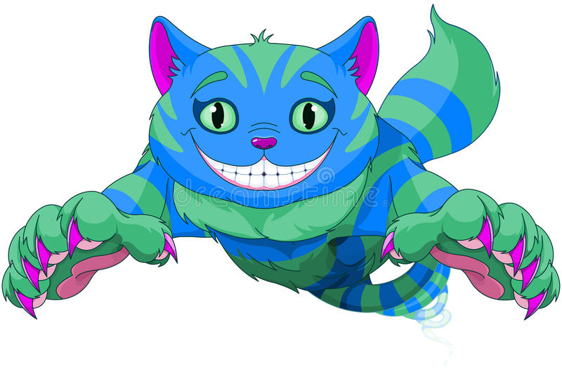 Cheshire Cat jumping. And disappearing vector illustration
