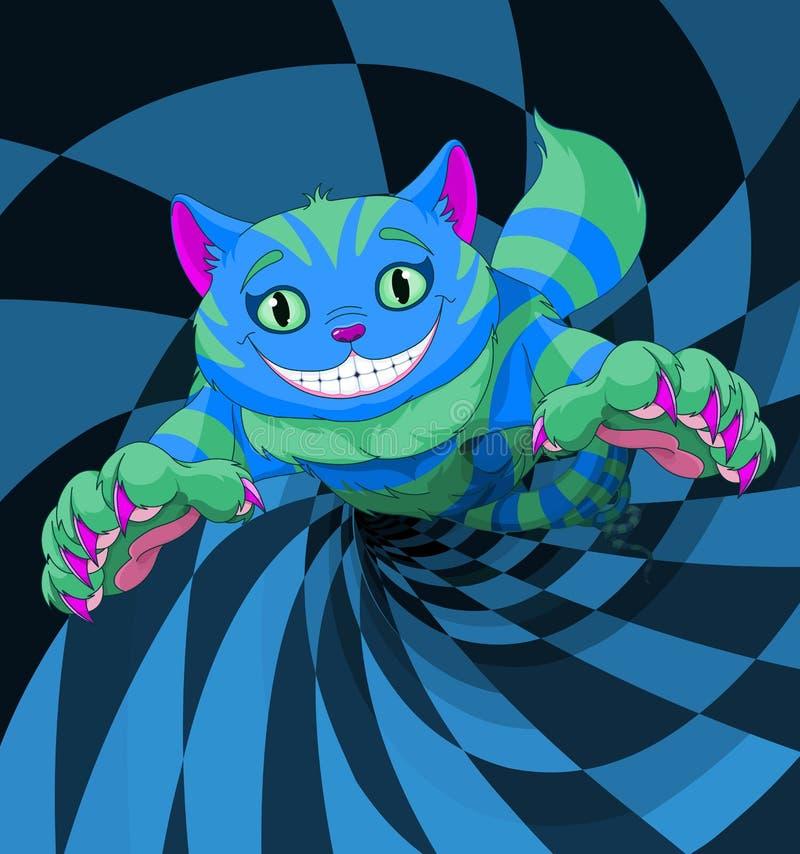 Cheshire Cat Jumping. To the wonderland rabbit hole stock illustration