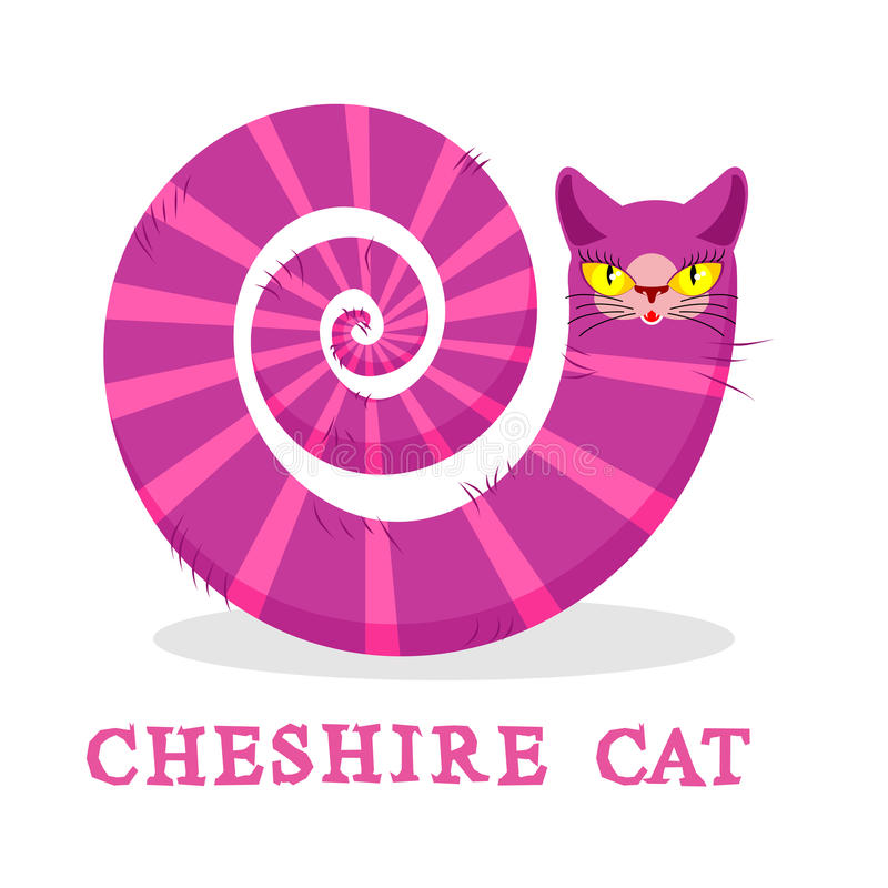 Cheshire Cat. Magic animal with long tail. Striped Fairy tale. Of the beast royalty free illustration