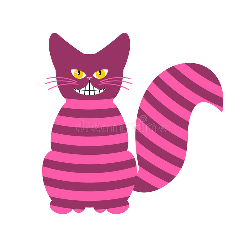 Cheshire Cat. Magic animal with long tail. Striped Fairy tale. Of the beast stock illustration