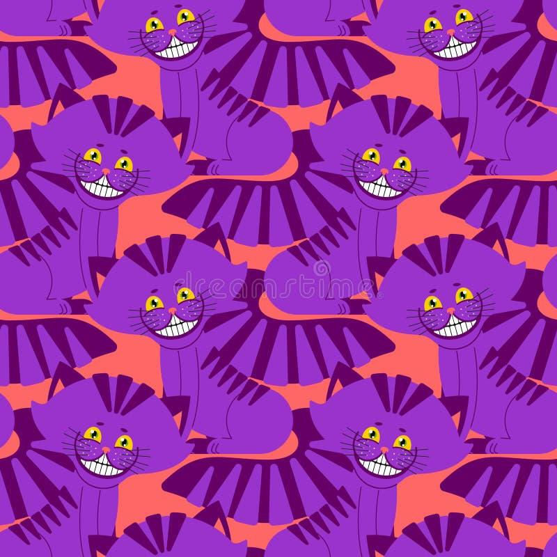 Cheshire cat smile pattern. texture Fantastic pet alice. In wonderland. Magic animal background royalty free illustration