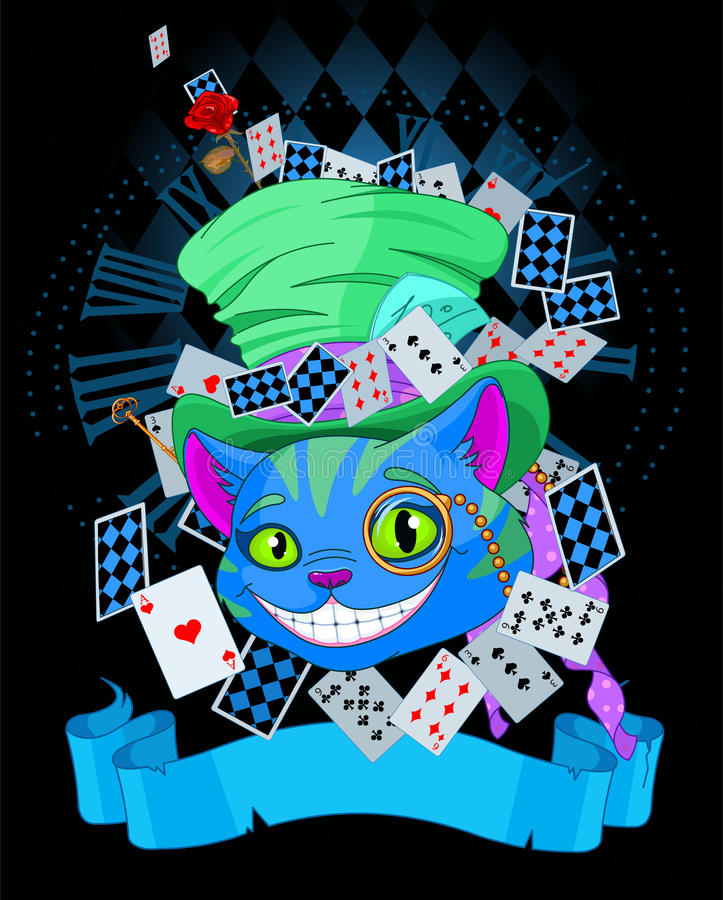 Cheshire Cat in Top Hat design. Design of Cheshire Cat in Top Hat and monocle vector illustration