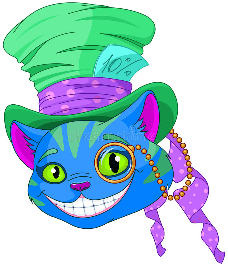 Cheshire Cat in Top Hat. And monocle royalty free illustration