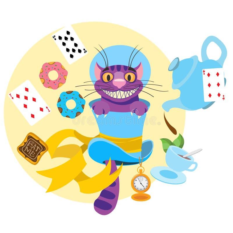 Cheshire-Katze in einem Hut und eine Vielzahl von Festlichkeiten für Tee Illustration zu den der Märchen Alices Abenteuern im M vektor abbildung