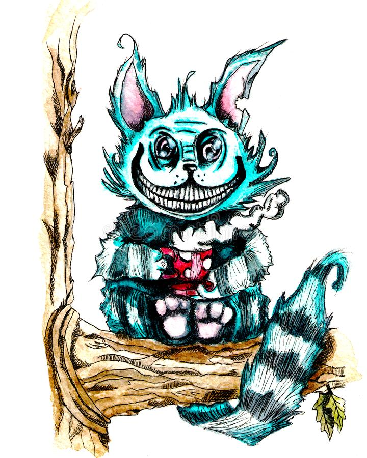 Cheshire-Katze mit einer Tasse Tee sitzend auf einem Baum Aquarell- und Zwischenlagenzeichnung stockbilder
