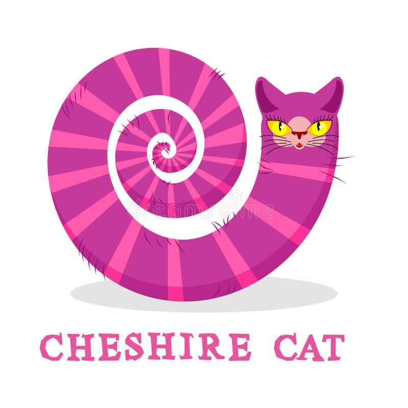 Cheshire kot Magiczny zwierzę z długim ogonem Pasiasta bajka royalty ilustracja