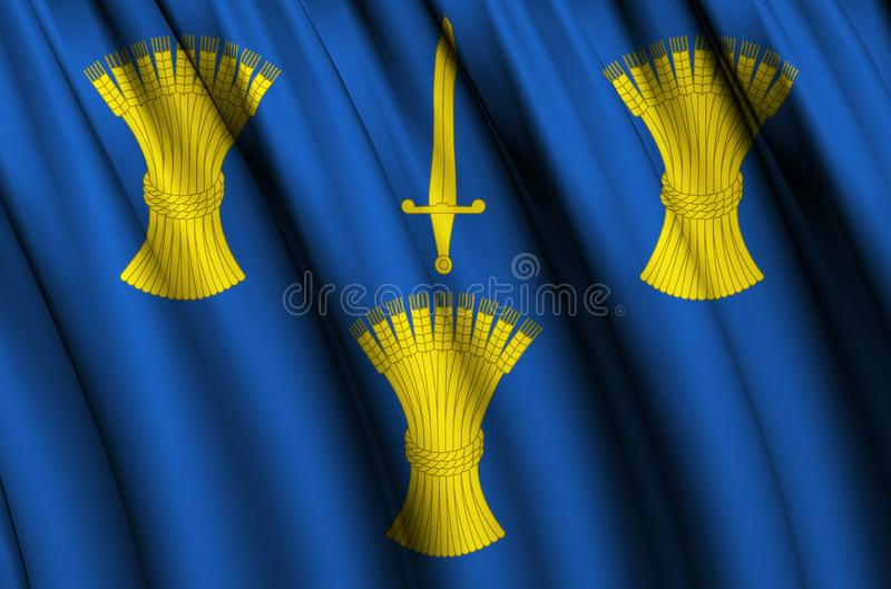 Cheshire waving flag illustration. Regions of England and United Kingdom. Perfect for background and texture usage royalty free illustration