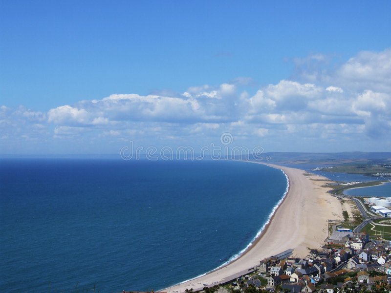 Chesil Beach. Dorset, England, viewed from from Portland stock photo