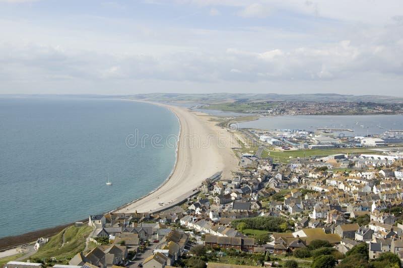 Chesil Beach From Portland, Dorset Royalty Free Stock Photos