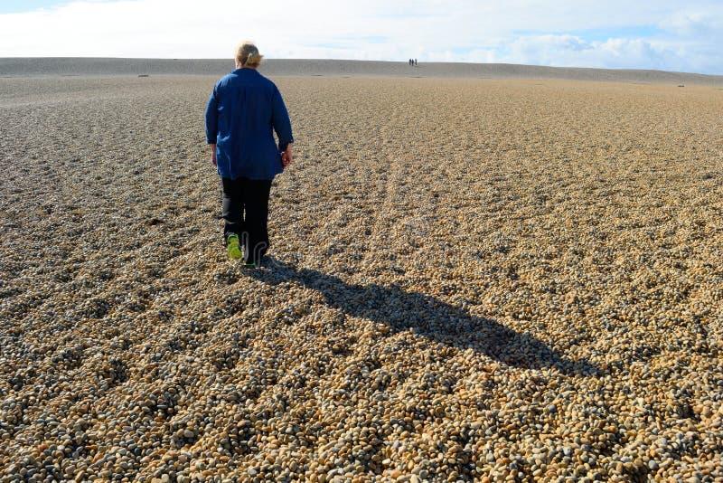 Chesil Beach. Woman walking on Chesil Beach in Dorset, UK stock photography