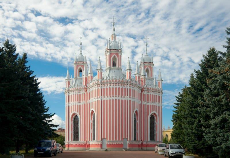 Chesme-Kirche, St Petersburg, Russland, hinterer Aufzug lizenzfreie stockfotos